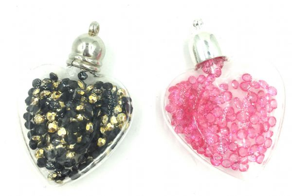 2 x 36mm glass hearts for holding beads, crystal or glitter - with end caps